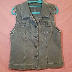 Chico's gray denim vest women's size 1
